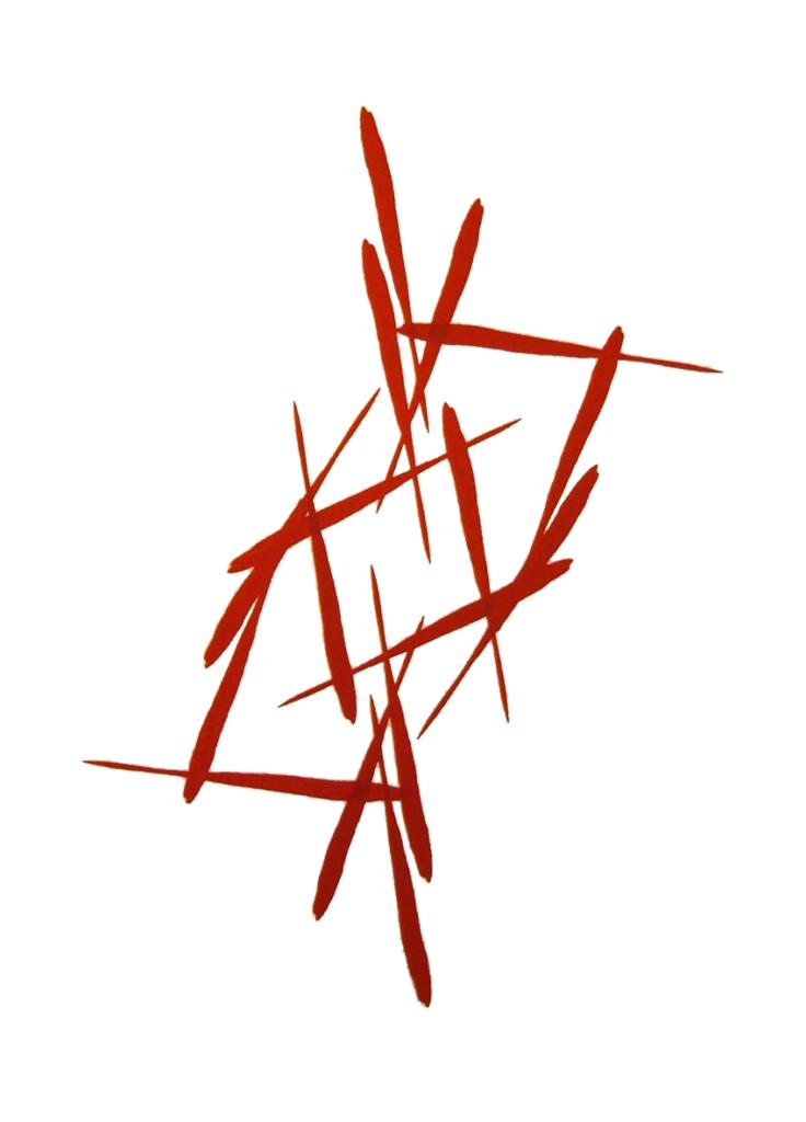 Siebdruck Komposition rot